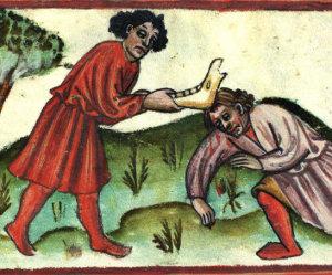 """Il·lustració sobre com repartir l'herència. """"Costumisme popular chrestià"""" (autor anònim, s. IX EC)"""