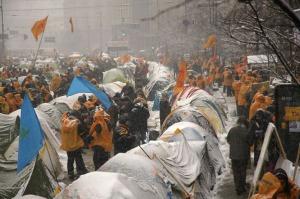 Campamento en Kyiv durante la Revolución Naranja